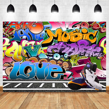 Hip Hop Backdrop Graffiti Wall Party Background Retro Age Personalized Portrait Banner Decorative Photography Backdrops