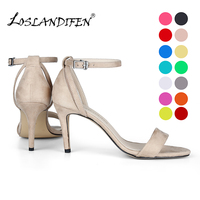 LOSLANDIFEN Fashion Women's Sandals Ankle Strap Summer Office Thin High Heel Shoes Classic Party Buckle Red Velvet Pumps 107 6VE