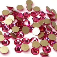 Glass Crystal Rhinestones Rose Color All Size 1 Bag NOHF Flatback Strass Nails Decorations For Nail Art Designs