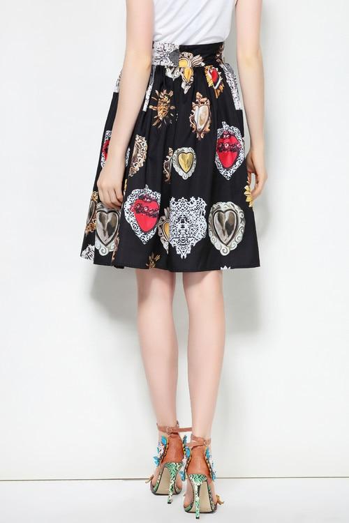 Casual 2019 Cintura Llegada Falda Negro Nueva Tamaño Plus Moda Mujer Alta Pista Diamantes Verano Calidad La Faldas De Impresión vxqHYqw6