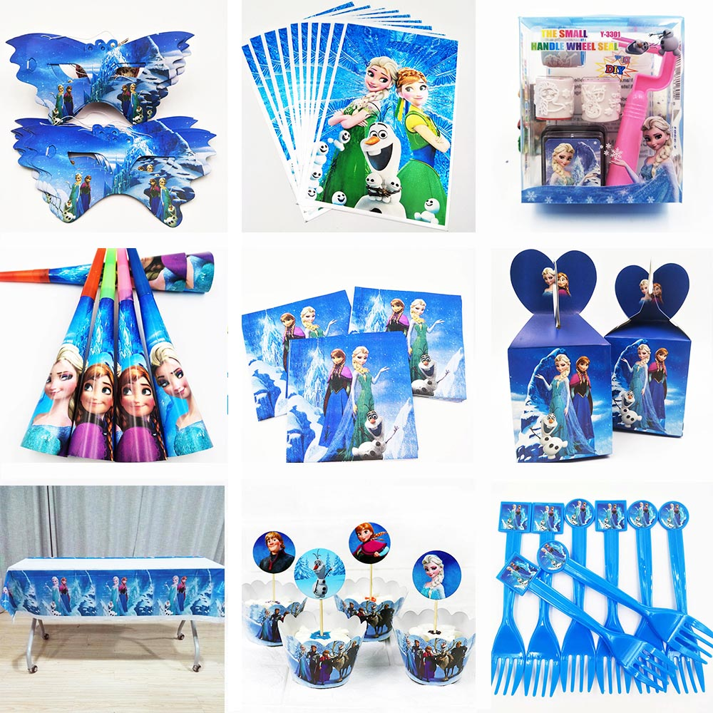 Disney Anna Elsa Snow Queen Movie Party Knife Fork Spoon Plate Cup Napkin Baby Birthday Decorations Kids Evnent Party Supplies