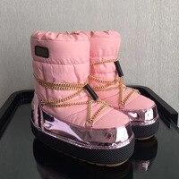 Брендовые теплые зимние сапоги Золотая цепочка Для женщин полусапожки до середины икры Для женщин сапоги Женская обувь на платформе Водоне