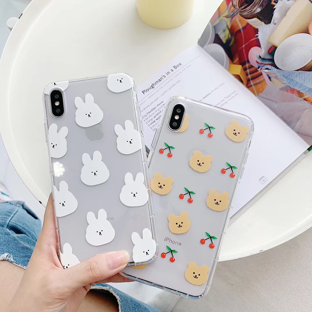 Ins coréia bonito dos desenhos animados animal engraçado coelho urso caso de telefone para iphone xs max xr x 6s 7 8 plus casal claro macio tpu capa traseira