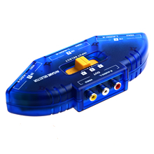 CES-Blue 3 Way Ports Audio Video AV RCA Switch Switcher Splitter Cable