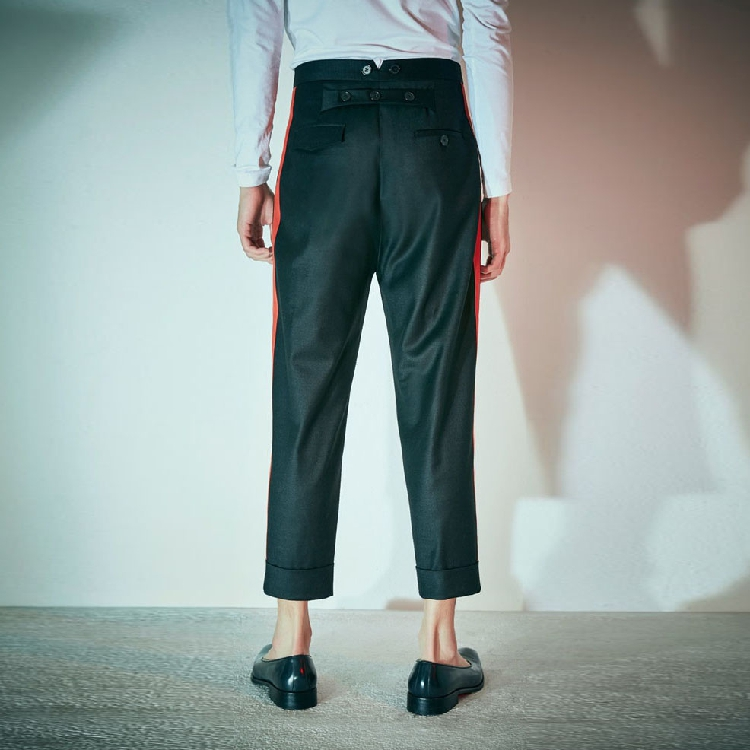 Hot 27 New Costumes 44 Casual Plus Vêtements Gd 2018 Catwalk Noir Bord Taille La Mode Styliste Hommes De Rue Côté Pantalon Cheveux Bande qqSwxfrd5n