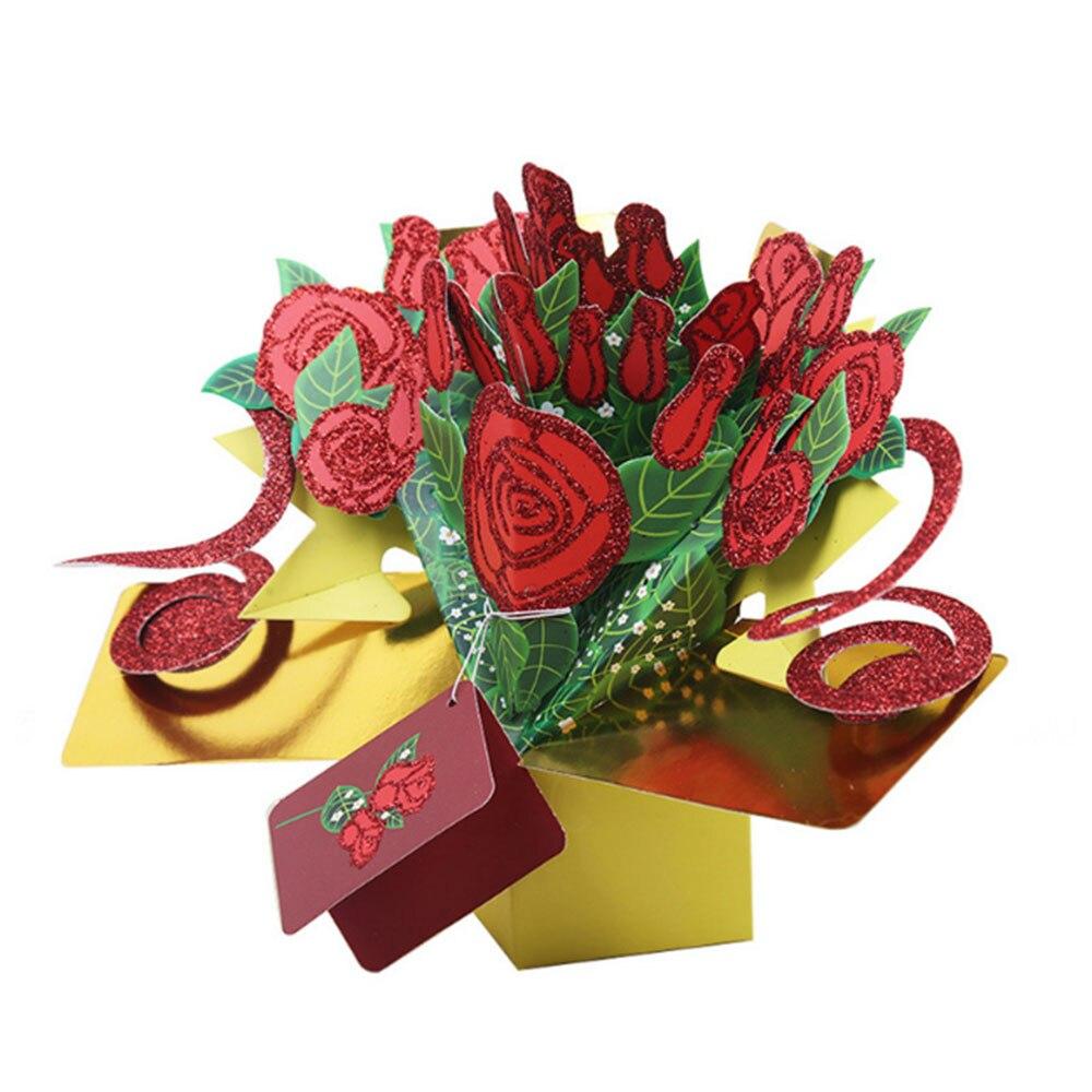 Handicraft Happy Birthday Roses Greeting Cards 3d Pop Up Flower