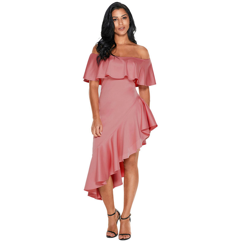 6f1135b3a29 Femmes-Asym-trique-Volants-De-L-paule-Robe-Sexy-Lady-Bretelles -Solide-Couleur-Maigre-Robes-Courtes.jpg