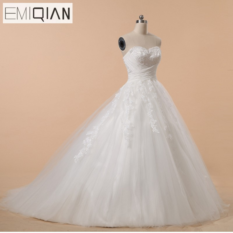 Freeshipping Real Pictures Strapless A-Line Court Train Appliqued Bridal Wedding Dresses