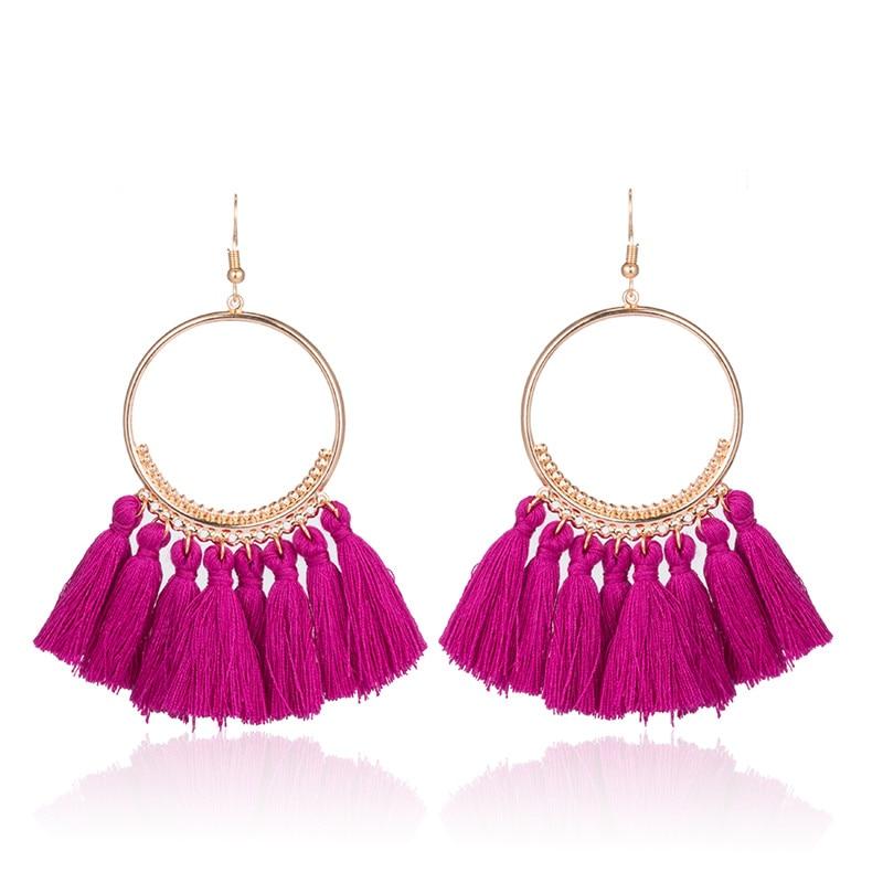 2018 Mode Bohemien Etnische Omzoomd Kwast Oorbellen voor Dames Gouden - Mode-sieraden - Foto 6