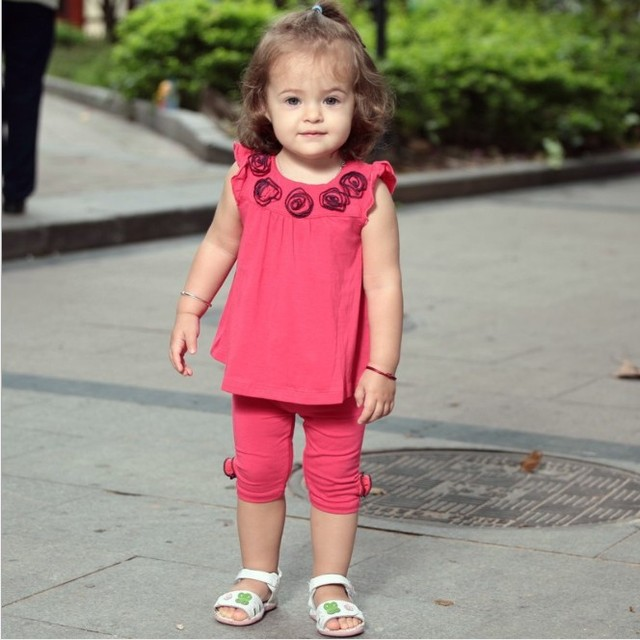 Free Shipping 4Sets/Lot New Baby Girl Summer Wear Garment Decorated by Rose 3Colors Sleveless Girls Pants Clothes Set Wholesale