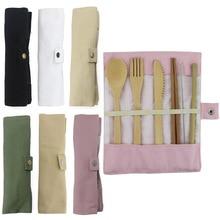 Бамбуковая посуда деревянный набор столовых приборов для путешествий многоразовая посуда с мешочком Кемпинг ноль отходов вилка ложка столовые приборы нож набор