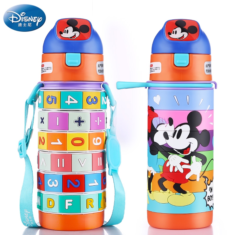 Creative Puzzle Feeding cup Mickey Minnie Bottle for baby drink Multifuctonal water cup 400ML Thermos Cup Portable outdoor baby bottle storage box baby feeding bottle cover bag boxes baby feeding bottle holder for travel outdoor