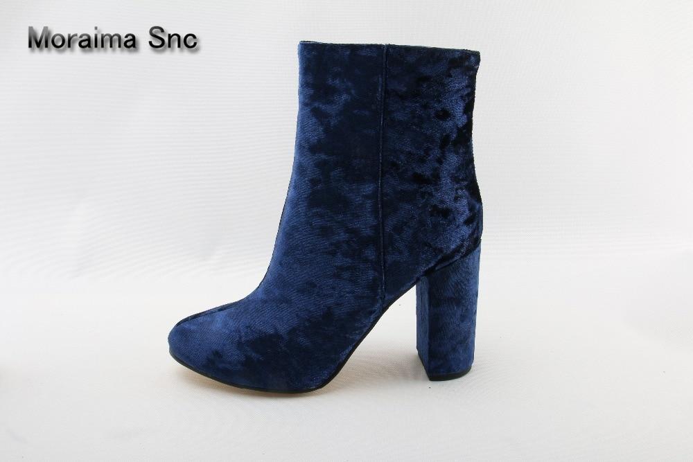 Moraima Snc brand rome style women boots blue Velvet shoes women round toe high heels ankle boots for women riding boots mujer moraima snc red boots transparent high heels boots women square toe mid calf rainboots sexy ankle boots for women bottine femme