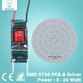3W 5W 7W 9W 12W 15W 18W  24W  5730 SMD Light Board Led Lamp Panel For Ceiling + AC 100-240V LED power supply driver