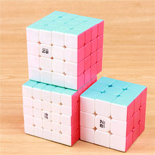 QIYI warrior 3x3x3 스피드 매직 큐브 스티커없는 4x4x4 전문 퍼즐 cubo 5x5x5 부드럽게 큐브 교육 완구