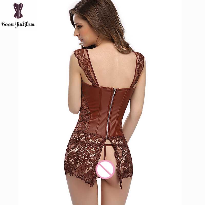 Corset Dress With Laciness Skirt Plus Size 6XL Steampunk Bustier Black Red Brown Corselet Faux Leather Outwear Dress Bone Korset 5
