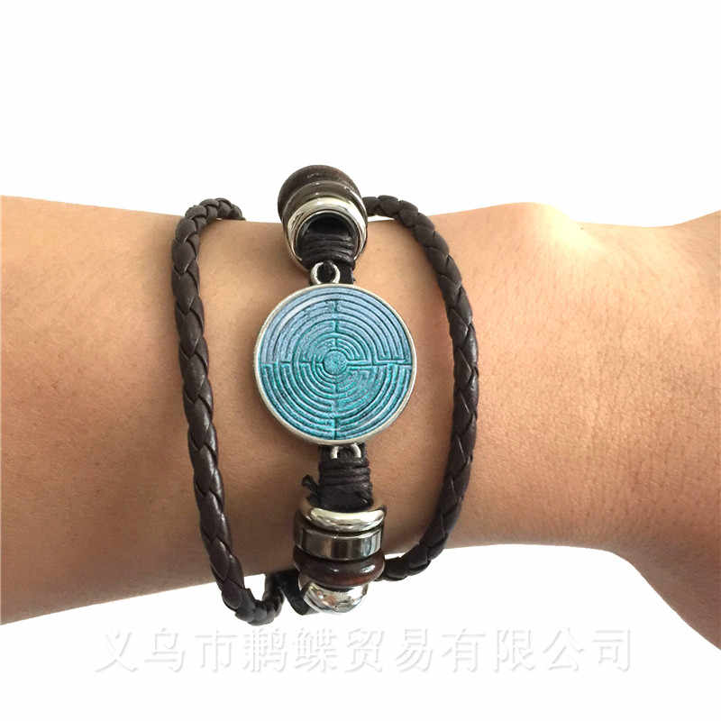 Peace Symbol Sun God Time Gem Bracelet European And American Fashion Accessories Hope For World Peace Black/Brown Leather Bangle
