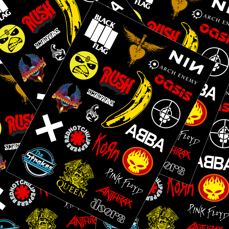 21 Pcs Rock Band Suitcase Sticker Personality Laptop Skateboard Suitcase Sticker