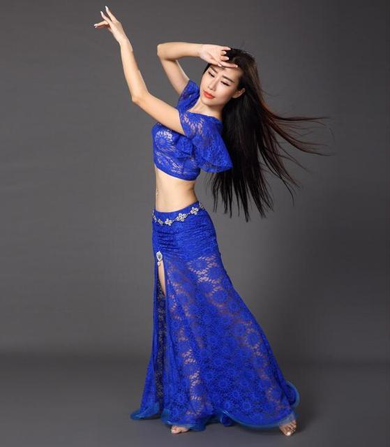 13ea2bb7b1fd 2 Piece Bellydance Costume Set Lace Dress Dancer Practice Clothing ...