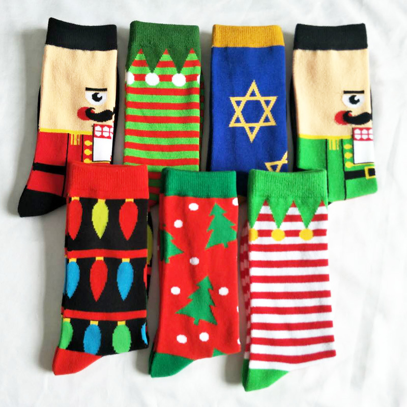 Funny Christmas Tree Series Pattern Cotton Socks Men Holiday Winter Striped Personality Cartoon Happy Red Santa Claus Party