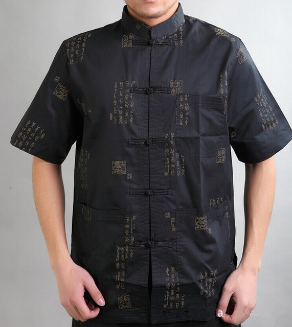 Black Traditional Chinese style Men's Cotton Kung Fu Shirt Top Clothing with Pocket Size S M L XL XXL XXXL Free Shipping Mny-02C