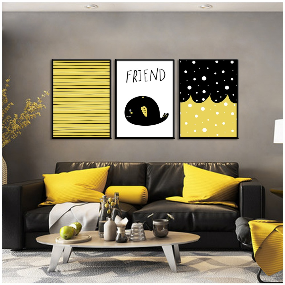 Whale Canvas Art Print Painting Poster, Golden Black Stripes Wall ...