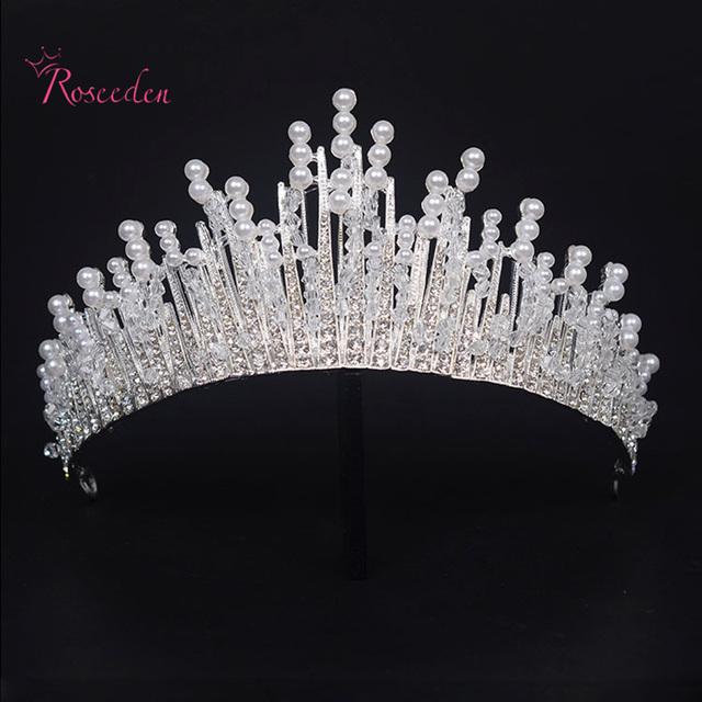 Tiara de cristal hairband Rainha Prom Pageant tiara de pérolas de casamento da noiva de luxo casamento tiara coroa RE645