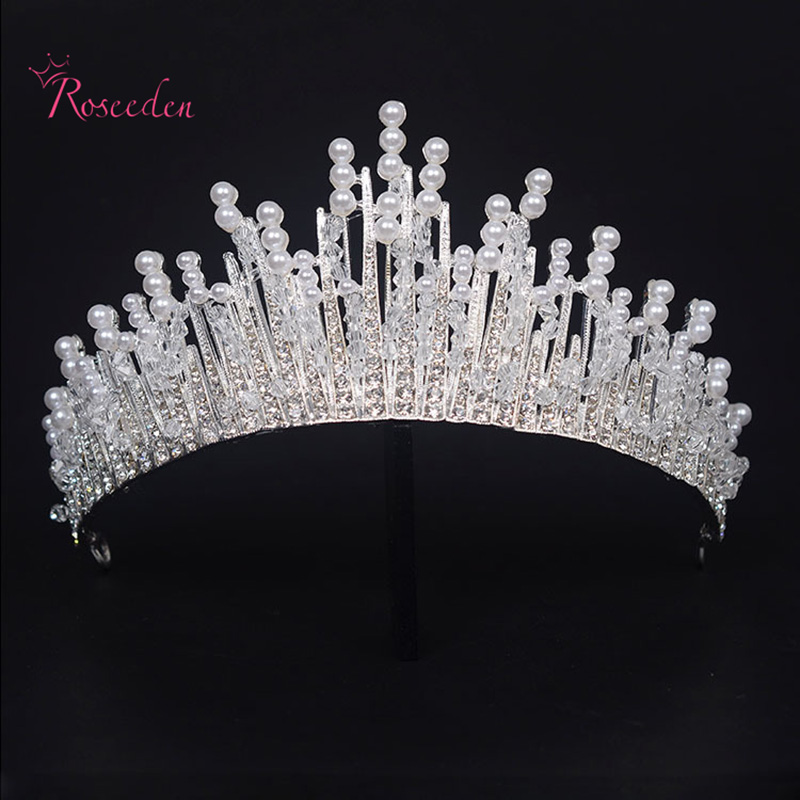 crystal tiara bride wedding hairband Queen Pageant Prom tiara pearl luxury headband wedding crown RE645