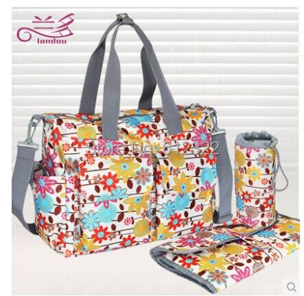 Baby diaper bags nappy mummy stroller maternity multifunctional bolsa maternidade handbag shoulder messenger bags 6 piece set