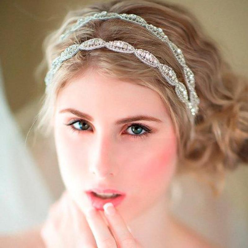 ᓂEuropea nuevo lujo doble tira de imitación diamantes novia pelo ...