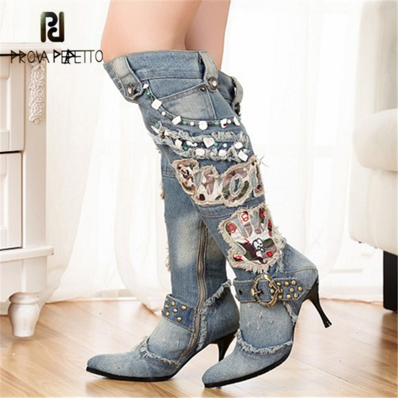 Prova Perfetto Women Knee High Boots Winter Denim Shoes Woman Sexy Pointed Toe Warm Jean Botas Mujer Beading High Heel Boots все цены