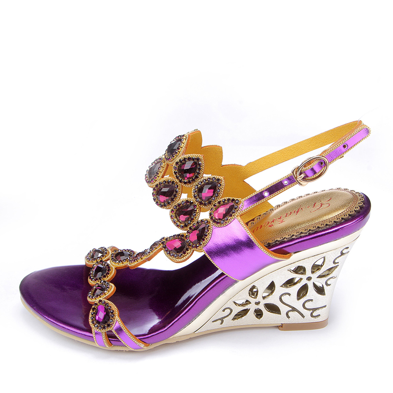 Kristall Größe High Frauen Wedge Keilabsatz purple Heel Heel Schuhe 2018 Heel pink Heel Plus Sommer Stil Luxus Strass Hochzeit Gold 44 schuhe Korean Sandalen 7xzvqd6U