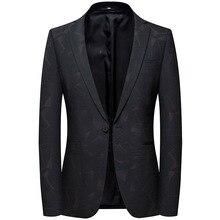 Mens casual suit spring 2019 new floral jacket. Men slim suit. Suit single coat
