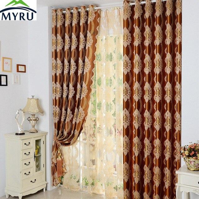 MYRU Europese hoogwaardige reliëf jacquard gordijn slaapkamer kamer ...