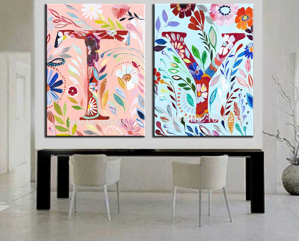 new hand painted modern abstract english alphabet oil painting
