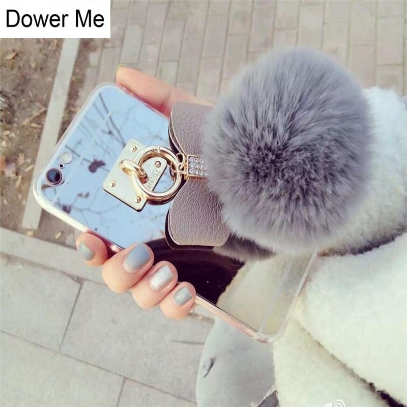 Dower Me Real Rabbit Fur Ball Diamond Bowknot Pendant Soft Mirror - Reservdelar och tillbehör för mobiltelefoner - Foto 1