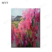 MYT Free Shipping Pink Flower Art Handpainted Poster Abstract Art Wall Pictures for Living Room Decoration Wall Canvas Art Decor
