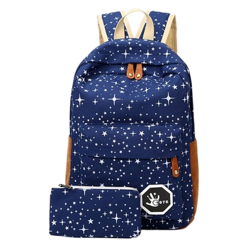 2 pcs/set Fashion Cute Star Women Men Canvas Printing Backpack School Bag For girl Teenagers Casual Travel bag 1