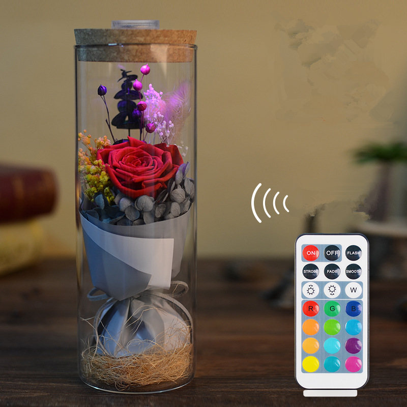 Artificial & Dried Flowers 2019new Dropshipping Beauty And The Beast Red Rose In A Glass Dome With Led Light Wooden Base For Valentines Mothers Day Gifts Festive & Party Supplies