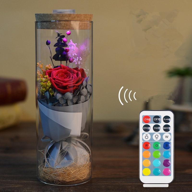 Belle en het beest Rode roos in een glazen koepel op een houten basis - Feestversiering en feestartikelen