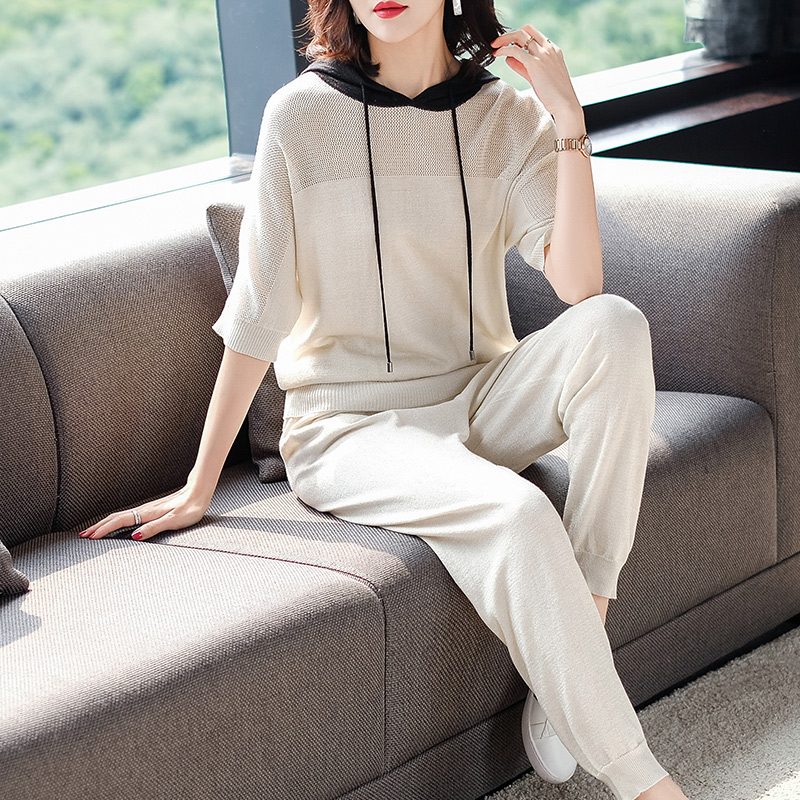 2XL Brand Suit 2019 Spring Summer Women Suit New Casual Sets Half Sleeve Hooded T shirt + Long Pencil Pants 2 Piece Suits Female - 2