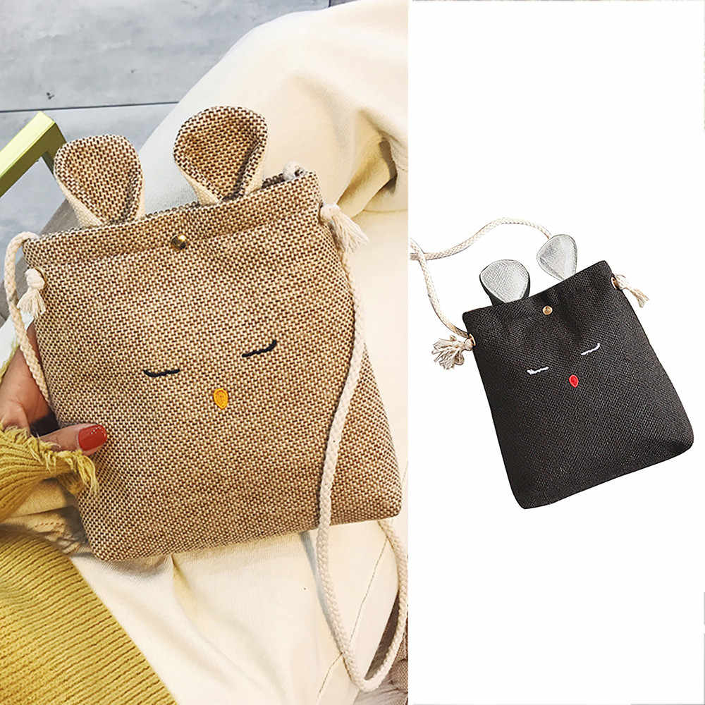 Women Bag Burlap Cat Ears Small Square  Simple Cute Shoulder Crossbody sac main femme bags for women 2019 ladies hand bags