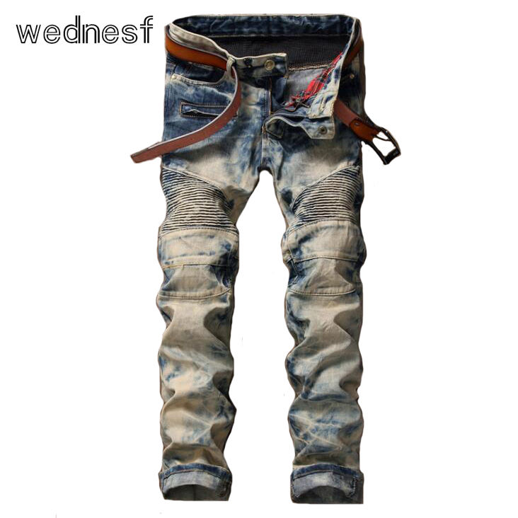 ФОТО #1944 Skinny Mens biker jeans Fashion Vintage blue Fashion Jogger jeans Motorcycle jeans homme Fake designer clothes Distressed
