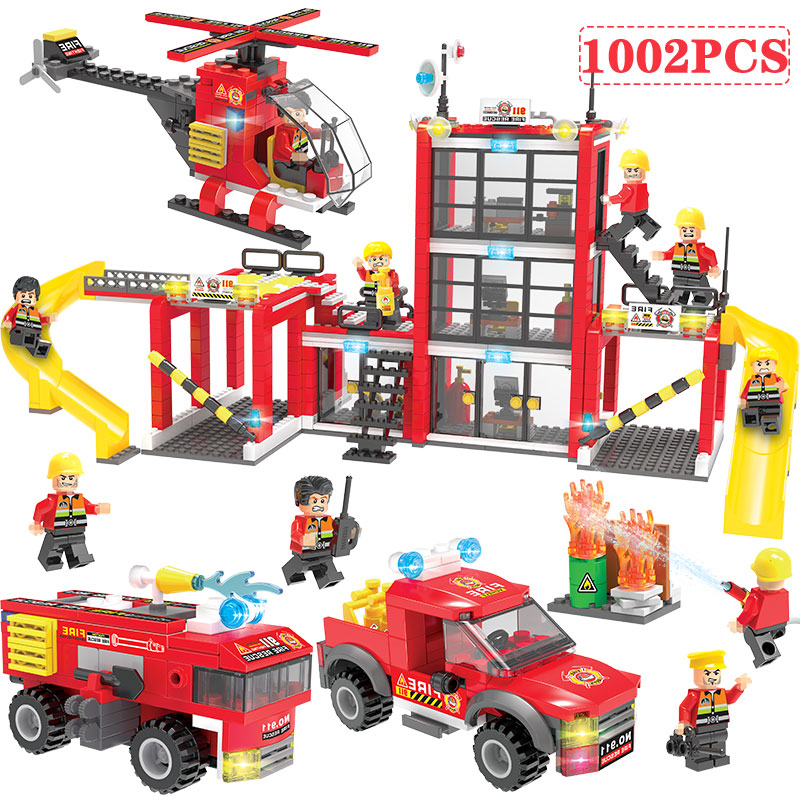 1002 Piezas De La Policía De La Ciudad De Fuego Edificio Bloques Compatible Legoed Coche Helicóptero Cifras Ladrillos Juguetes Para Los Niños Oficial 2019