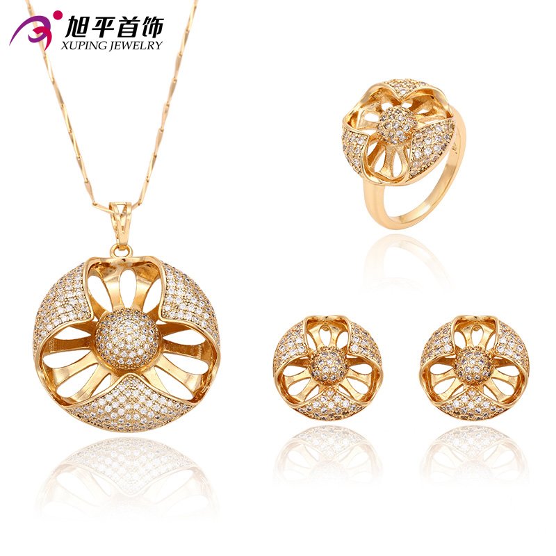 Xuping Fashion Set New Arrival Flower Style Women Gold Color Plated Synthetic CZ High Quality Imitation Jewelry Set 63230