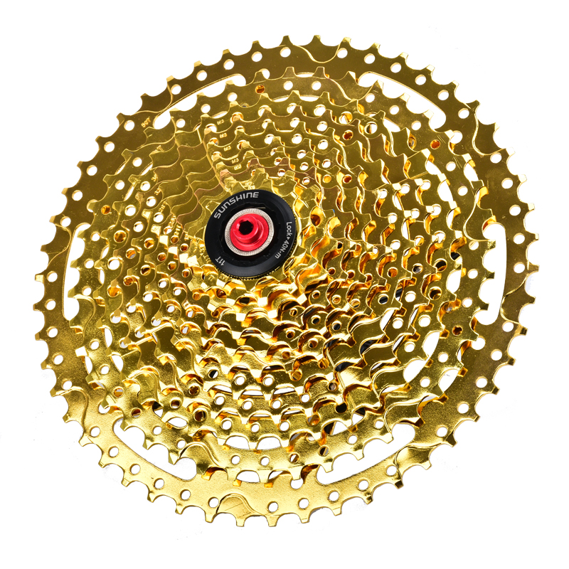 SUNSHINE Golden Mtb Bike Flywheel 11-50T For Shimano and Sram 11 Speed Bicycle Chain wheel Cassette Bike parts west biking bike chain wheel 39 53t bicycle crank 170 175mm fit speed 9 mtb road bike cycling bicycle crank