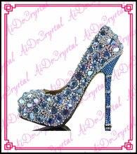 Aidocrystal hot sale glitter bule wedding high heel women shoes with stones, blue rhinestone bridal shoes