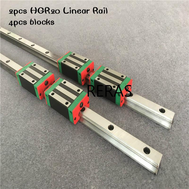 HGR15-800mm 2x Linear Guideway Rail 4x HGH15 Square type carriage bearing block