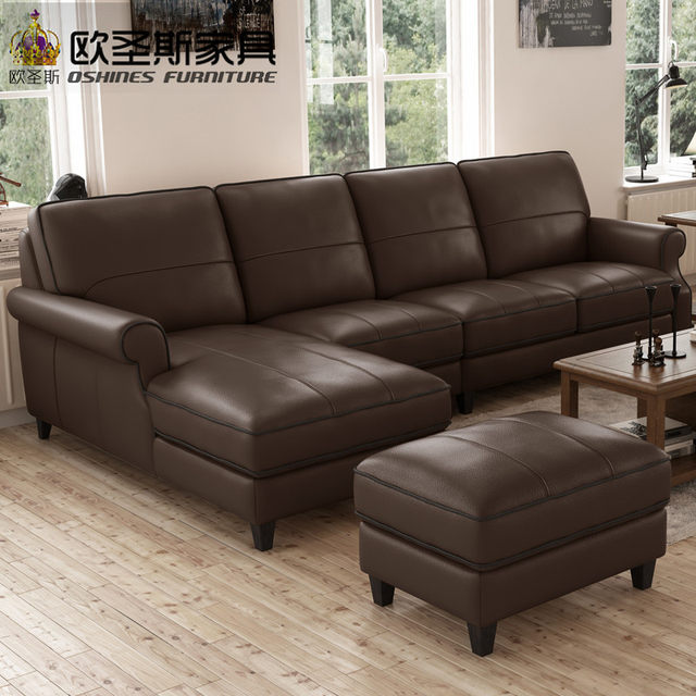 Valencia Nubuck Leather Sofa American Style Sectional High Wood Legs Set F75l