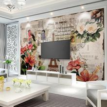 Papel tapiz Mural con flor de la Torre Eiffel Vintage americana para sala de estar papel de Contacto papel de pared rollo de lienzo murales de flores